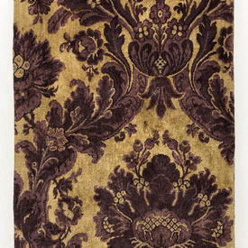 """Table Cover 7'6"""" x 4' Mauve / Biscuit Large Scroll Silky Plush"""