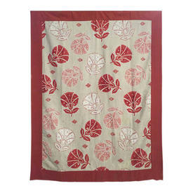"""Wall Hanging 5'9"""" x 4'2"""" Terracotta Large Floral Print Linen / Border"""