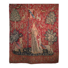 """Wall Hanging 5'9"""" x 4'4"""" Rust Cluny Tapestry on Baton"""