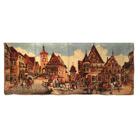"""Wall Hanging 2'1"""" x 5'4"""" Rust Medieval Town Moquette"""