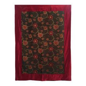 "Wall Hanging 5'7"" x 4' Chestnut / Maroon Floral Silky Jacquard / Silk Border"
