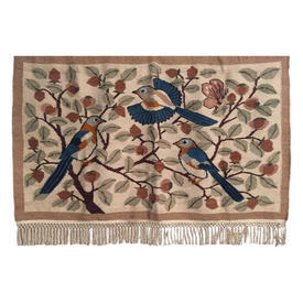 "Wall Hanging 3'11"" x 5'6"" Terracotta / Sand African Birds in Fruit Trees Heavy Wool Tapestry / Fringe"