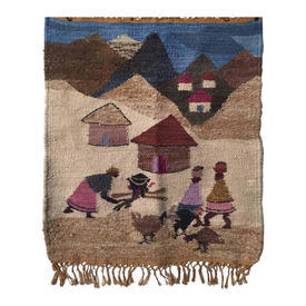 "Wall Hanging 3'3"" x 2'4"" Lilac / Sand African Village Heavy Wool / Fringe"