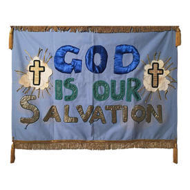 "Wall Hanging 3' x 3'11"" Blue God is Our Salvation Applique Satin & Lurex"
