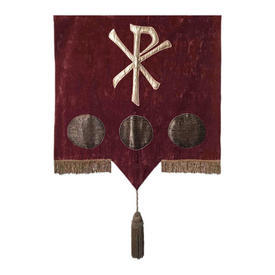 "Wall Hanging 3'2"" x 2'8"" Raspberry Crossed Sword & Medallions Lurex Applique / Crushed Suede / Fringe/Tassel"