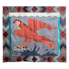 """Wall Hanging 4'4"""" x 4'6"""" Turquoise / Rust Eagle Fishing Satin Applique"""