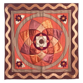 "Wall Hanging 4'10"" x 4'4"" Rust Large Geo Flower Satin Applique"