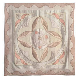 "Wall Hanging 4'11"" x 4'7"" Ivory / Pale Peach Geo Rose Motif Applique Silk"