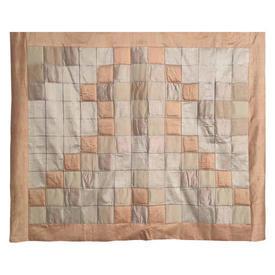 "Wall Hanging 4'3"" x 4'9"" Peach / Cream Squares Patchwork Applique Silk"