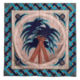 """Wall Hanging 4'8"""" x 4'6"""" Turquoise Palm Trees Applique Silk & Satin"""
