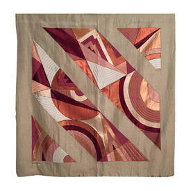 "Wall Hanging 4'10"" x 4'6"" Coral / Plum Abstract Geo Applique Silk on Linen"
