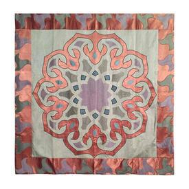 """Wall Hanging 4'10"""" x 4'6"""" Aqua / Salmon Moorish Motif Applique Silk & Satin"""