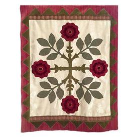 """Wall Hanging 4' x 3'10"""" Raspberry Tudor Rose Cross Applique Silk / Velvet / Damask"""