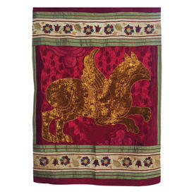 "Wall Hanging 4' x 2'9"" Magenta Griffin Applique Silk & Velvet"