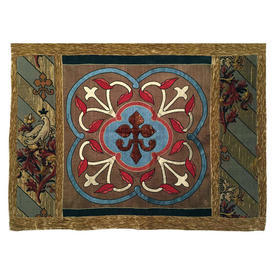 "Wall Hanging 3'3"" x 4' Aqua Heraldic Motif Applique Silk & Chenille / Tapestry Border"