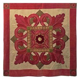 """Wall Hanging 3'5"""" x 3'2"""" Raspberry Flower Tile Motif Applique Silk & Velvet"""