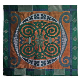 "Wall Hanging 3'3"" x 3'4"" Sea Scroll Tile Motif Applique Silk"