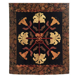 """Wall Hanging 4' x 3'2"""" Black / Chestnut Iris & Lily Cross Silk Applique / Floral Tapestry Border"""