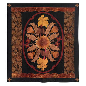 """Wall Hanging 4'2"""" x 3'6"""" Black / Chestnut Lily & Thistle Oval Silk Applique / Tapestry Border"""