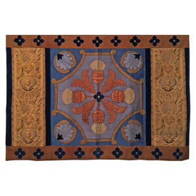 "Wall Hanging 3'2"" x 4'6"" Navy / Tan Thistle Cross Applique Silk & Velvet / Tapestry Panels"