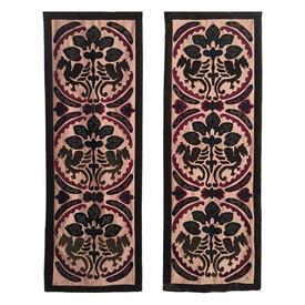 Pair Wall Hangings 6' x 2' Khaki / Plum Chinese Dragon Motif Applique Silk & Velvet