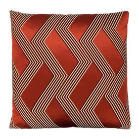 "Floor Cushion 24"" x 24"" Rust Large Graphic Chevron Silk"