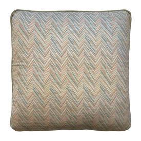 """Cushion 18"""" x 18"""" Peach / Sage Small Chevron Stripe Print"""