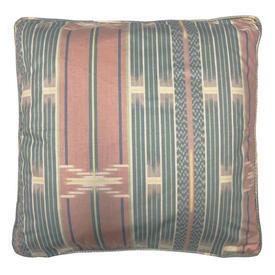 "Cushion 18"" x 18"" Aqua / Apricot Stripe Chintz"