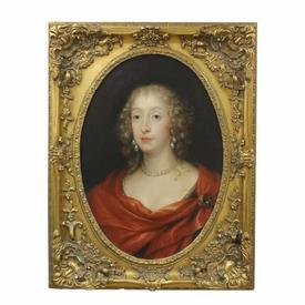 """3' x  2'3"""" Gilt Heavily Carved Oval Mounted, Portrait Of Georgian Lady in Red Sash"""