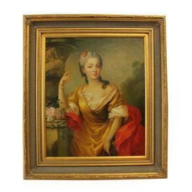 "2'8"" x  2'3"" Gilt Frame Oil on Canvas Portrait Lady in Peach Dress & Red Sash"