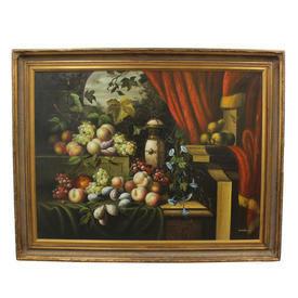 "4'9"" x  3'8"" Gilt Frame Oil on Canvas, Red Draped Still Life Fruit"