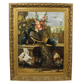 "4'1"" x  5'1"" Oil on Canvas Of Peacocks, Flowers & Domestic Fowl in Ornate Gilt Frame"