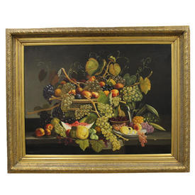 "4'2"" x  3'4"" Gilt Frame Painting Of Fruit in Basket"