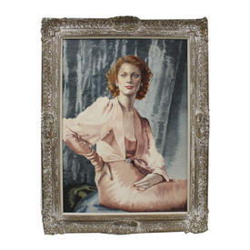 "3'7"" Portrait Of Lady in Pink Dress Oil on Canvas in Ornate Wood Frame"