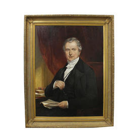 "3'2"" x  4' Portrait Of Victorian Gent Wearing Black Coat Holding Spectacles in Gilt Frame"
