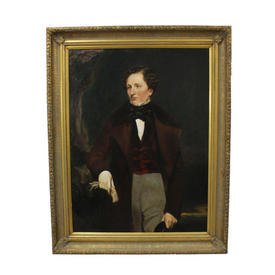 "3'2"" x  4' Portrait Of Victorian Gent Wearing Red Coat Holding Gloves in Gilt Frame"