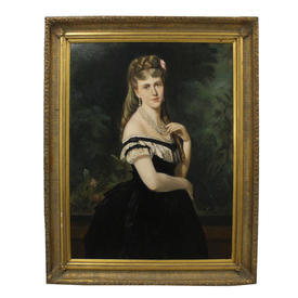 "3'2"" x  4' Portrait Of Victorian Lady in Lace Trim Dress Wearing Pearls in Gilt Frame"