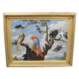 "4'2"" x  3'4"" Painting Of Birds with Parrot & Owl Sitting in Gilt Frame"