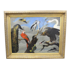 "4'2"" x  3'4"" Painting Of Birds with Parrot & Heron Sitting in Gilt Frame"