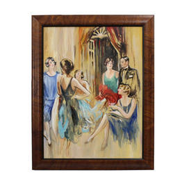 "2'4"" x  22"" Mahogany Frame Painting Of Flapper Party"