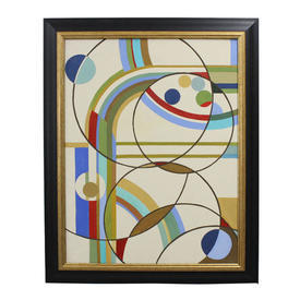 "2'4"" x  24"" Black & Gilt Frame Art Deco Style Abstract Circles Painting"