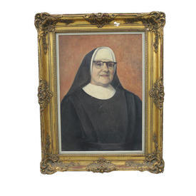 "3' x  2'5"" Gilt Frame Painting Of Nun"