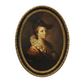 "2'9"" Oval Black & Gilt Framed Portrait Of Lady in Black Hat with White Ruffle Collar"