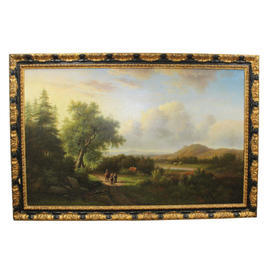 6' x  4' Black & Gilt Frame Oil on Canvas Dutch Landscape Scene