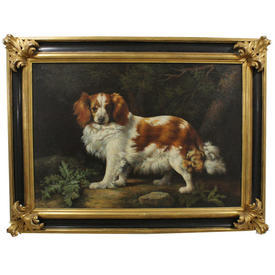 "4' x  3'2"" Black & Gilt Scoll Frame Oil on Canvas Portrait Of Dog"