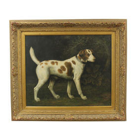 "2'7"" x  2'4"" Gilt Frame Oil Of Dog on Canvas"