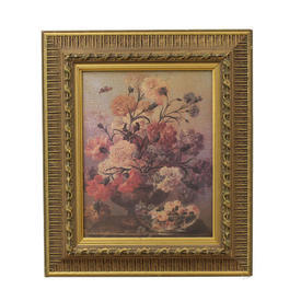 "20"" x  17"" Gilt Frame Still Life Of Flowers"