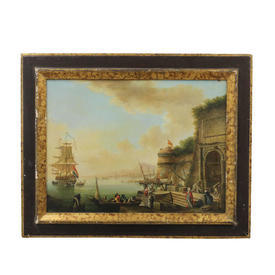 "20"" x  15"" Black & Gilt Frame Ship Yard Scene"