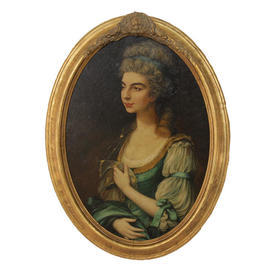 "2'7"" Oval Gilt Frame Oil on Canvas Portrait Of Young Lady"