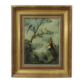 "20"" x  16"" Gilt Frame Oil on Canvas Exotic Birds in Tree"